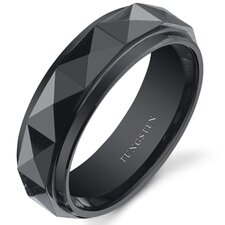 Tungsten Men's Faceted Wedding Band
