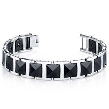Men's Faceted Black Ceramic and Stainless Steel Bracelet