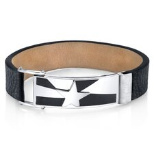 Men's Shooting Star Black Genuine Leather and Stainless Steel Bracelet
