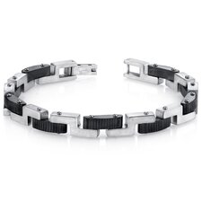<strong>Oravo</strong> Men's Z Link Brushed Finish Stainless Steel Bracelet