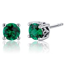 Scroll Design 1.50 Carats Round Cut Emerald Stud Earrings