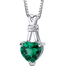 "Passionate Pledge: Heart Shape Checkerboard Cut Emerald Pendant with 18"" Necklace"