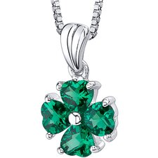 "<strong>Oravo</strong> Irresistible Desire: Heart Shape Checkerboard Cut Emerald Pendant with 18"" Necklace"