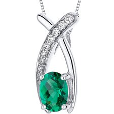 "Lucid Elegance 0.75 Carats Oval Cut Emerald Pendant with 18"" Necklace"