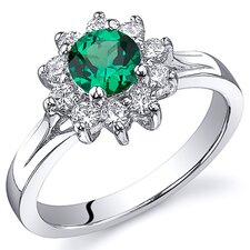 Ornate Floral 0.50 Carats Round Cut Emerald Ring