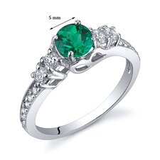 Enchanting 0.50 Carats Round Cut with Checkerboard Top Emerald Ring