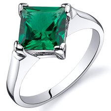 Striking 1.50 Carats Princess Cut Amethyst Emerald Ring