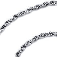 2mm Diamond Cut Stainless Steel Rope Chain Necklace
