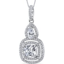 Sterling Silver Cushion and Pear Cut Cubic Zirconia Pendant Necklace