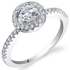 Sterling Silver Round Cut Cubic Zirconia Halo Ring