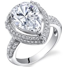 Sterling Silver Pear Cut Cubic Zirconia Halo Ring