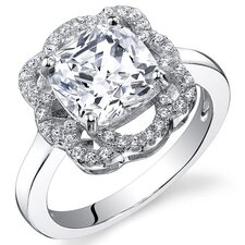 Sterling Silver Cushion Cut Cubic Zirconia Single Stone Ring