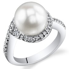 Sterling Silver Round Cut Pearl Ring