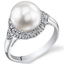 <strong>Oravo</strong> Sterling Silver Round Cut Cultured Pearl Ring