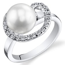 Sterling Silver Round Cut Cultured Pearl Ring