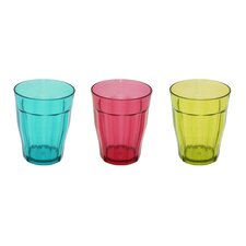 3 Piece Acrylic Tinted Soda Glass Set with 3 Mixed Colours
