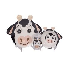 Friendly Faces 4 Piece Glass Set in Cow Pattern