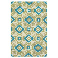 Francesca Lime/Blue Geometric Floral Area Rug
