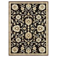 Halton Black/Gold Floral Area Rug