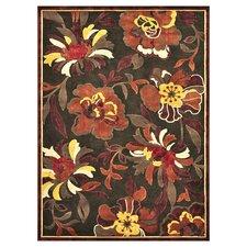 Halton Dark Brown/Rust Floral Area Rug