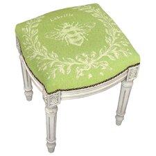 French Napoleon Bee Linen Upholstered Vanity Stool