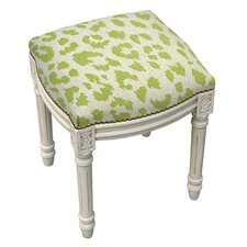 Animal Print Cheetah Linen Upholstered Vanity Stool