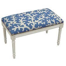 Coastal Upholstered and Wood Bench