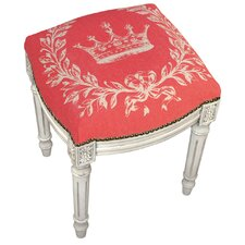 French Coral Crown Linen Upholstered Vanity Stool