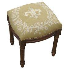 French Fleur de Lis Linen Upholstered Vanity Stool
