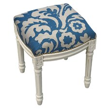 Floral Jacobean Linen Upholstered Vanity Stool