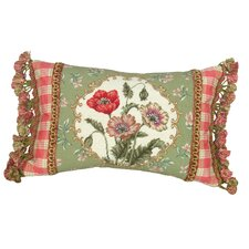 Poppy 100% Wool Petit - Point Pillow with Fabric Trimmed