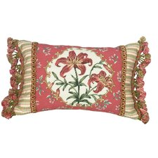 Tiger Lily 100% Wool Petit - Point Pillow with Fabric Trimmed