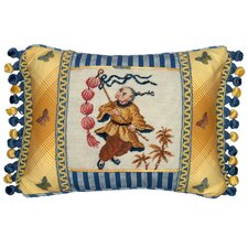 Boy with Lantern 100% Wool Petit - Point Pillow with Fabric Trimmed