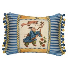 Boy with Kite 100% Wool Petit - Point Pillow with Fabric Trimmed