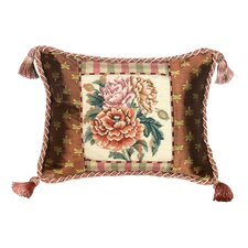 Peony 100% Wool Petit - Point Pillow with Fabric Trimmed