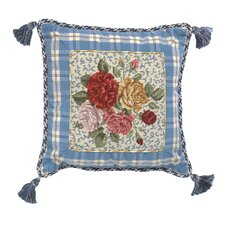 Porcelain - Rose 100% Wool Petit - Point Pillow with Fabric Trimmed