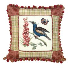 Sunbird 100% Wool Petit - Point Pillow with Fabric Trimmed