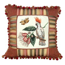 Cockatoo 100% Wool Petit - Point Pillow with Fabric Trimmed