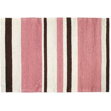 Modern Pink/Brown Stripe Hook Rug