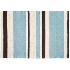 <strong>123 Creations</strong> Modern Blue/Brown Striped Hook Rug