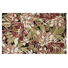 Floral Magnolia Brown Hook Rug