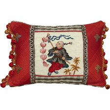 Boy with Lantern Petit-Point Pillow with Fabric Trimmed