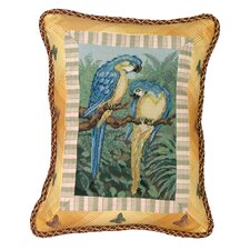 Parrot 100% Wool Petit-Point Pillow with Fabric Trimmed