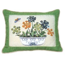 <strong>123 Creations</strong> Primrose in Pot 100% Wool Petit-Point Pillow with Fabric Trimmed