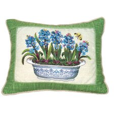 Hyacinth in Pot 100% Wool Petit-Point Pillow with Fabric Trimmed
