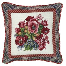 <strong>123 Creations</strong> Pansy 100% Wool Needlepoint Pillow with Fabric Trimmed