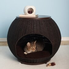 The Igloo Deluxe Wicker End Table Cat Bed