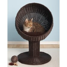 <strong>The Refined Feline</strong> Kitty Ball Rattan Cat Bed in Espresso
