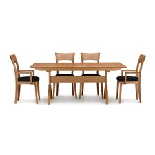 "Sarah 5 Piece Trestle Table Set with 84"" Extension"