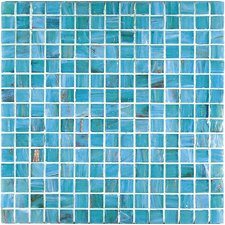 "Bronze/Gold Monocolor 13"" x 13"" Glass Mosaic in Aquamarine"